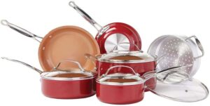 BulbHead Red Copper 10 PC Copper-Infused Ceramic Cookware Set
