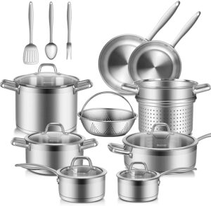 Duxtop Professional 17 Pieces Stainless Steel Induction Cookware Set