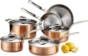 Lagostina Martellata Hammered Copper Tri-Ply Stainless Steel Cookware Set