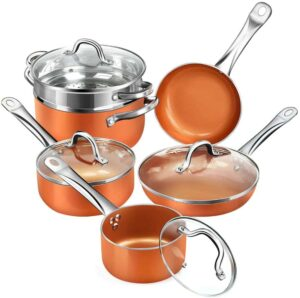 SHINEURI RCS-Tech Real Copper Infused 10 Pieces Cookware Set