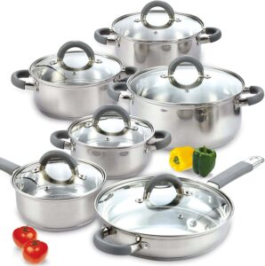 Cook N Home 2410 Stainless Steel 12-Piece Cookware Set