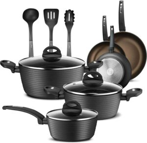 NutriChef Professional Hard-Anodized 12-Piece Cookware Set